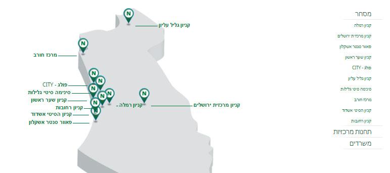 מפת נכסים הכוללת ממשק ניהול לניהול מיקומים על המפה